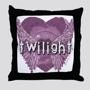 Twilight Violet Shadows Winged Crest Throw Pillow
