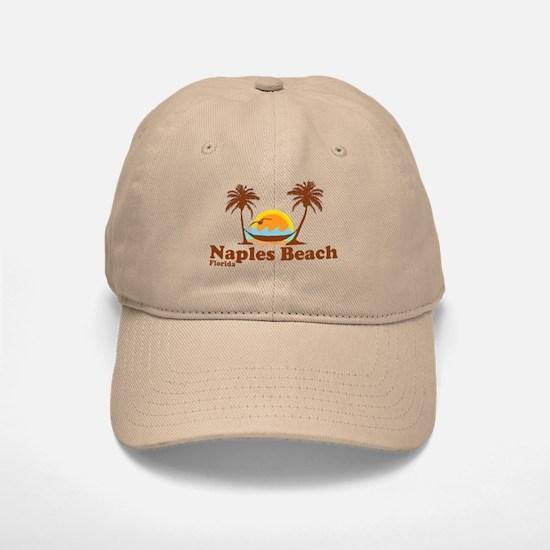 Naples Beach FL - Sun and Palm Trees Design Baseball Baseball Cap