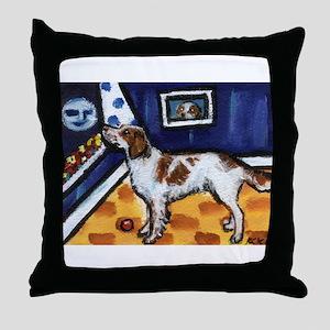 Irish Red & White Setter art Throw Pillow