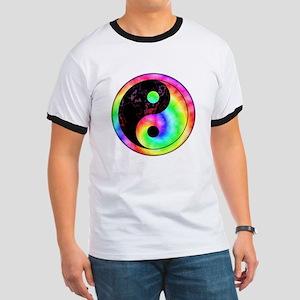 Rainbow Spiral Yin Yang Ringer T