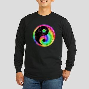 Rainbow Spiral Yin Yang Long Sleeve Dark T-Shirt