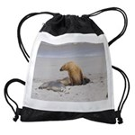 Mother and Pup Sea Lions on the bea Drawstring Bag