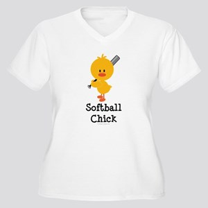 Softball Chick Women's Plus Size V-Neck T-Shirt