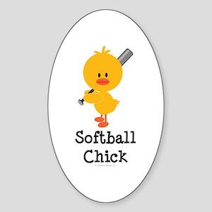 Softball Chick Oval Sticker