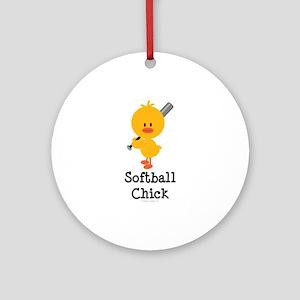 Softball Chick Ornament (Round)