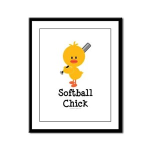 Softball Chick Framed Panel Print