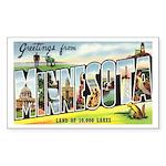 Greetings from Minnesota Sticker (Rectangle 10 pk)