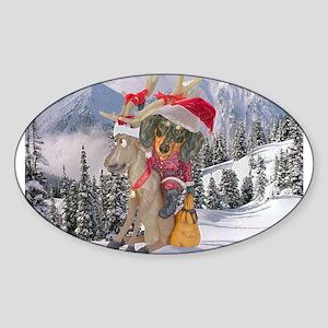 Reindeer Oval Sticker