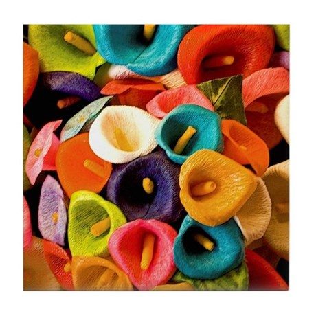 Colorful Papier Mache Flowers Tile Coaster By Apowstore
