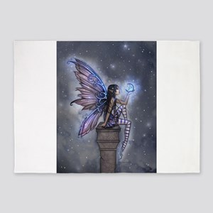 Little Blue Moon Fairy Fantasy Art 5'x7'Area Rug