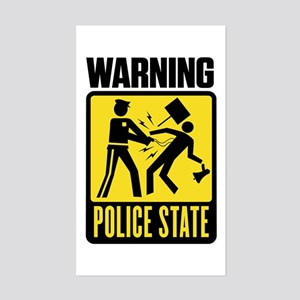 Warning: Police State Rectangle Sticker