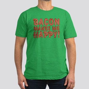 Bacon Makes Me Happy Men's Fitted T-Shirt (dark)