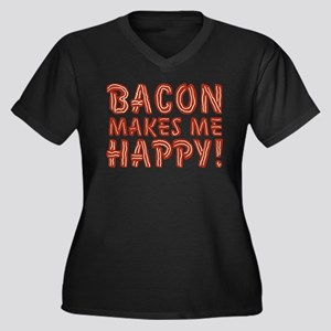 Bacon Makes Me Happy Women's Plus Size V-Neck Dark