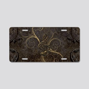 Music, clef wirth floral elements Aluminum License