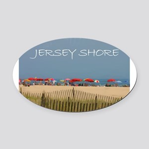 Jersey Shore Beach Umbrellas Oval Car Magnet