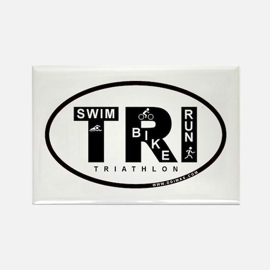 Thiathlon Swim Bike Run Rectangle Magnet