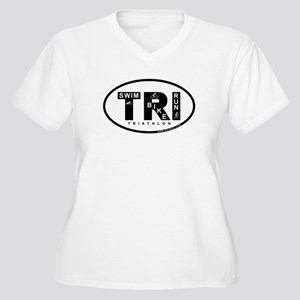 Thiathlon Swim Bike Run Women's Plus Size V-Neck T