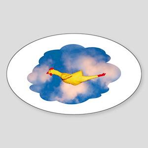 Rubber Chicken Oval Sticker