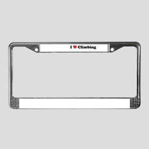I Love Climbing License Plate Frame