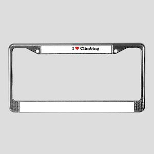 I Love Climbing License Plate Frame