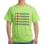 I Love Climbing (A lot) Green T-Shirt