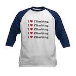 I Love Climbing (A lot) Kids Baseball Jersey