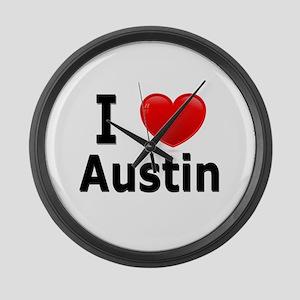 I Love Austin Large Wall Clock