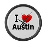 I Love Austin Large Wall Clock