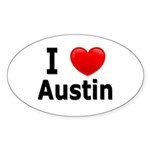 I Love Austin Oval Sticker (10 pk)