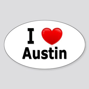 I Love Austin Oval Sticker
