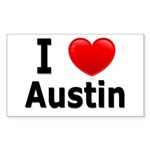 I Love Austin Rectangle Sticker