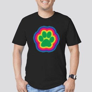 Tye Dye Paw Print Men's Fitted T-Shirt (dark)