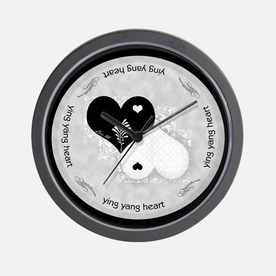 Heart lace / ying yang Wall Clock