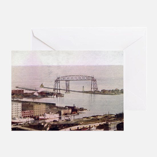 1905 Duluth Harbor and Aerial Greeting Card