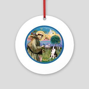 St Francis & Border Collie Reba Ornament (Roun