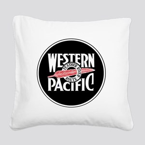 Round Western Pacific logo Square Canvas Pillow