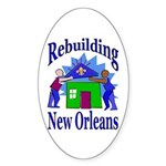 Rebuilding New Orleans Oval Sticker