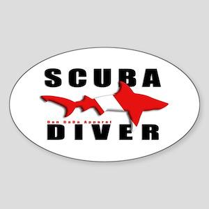 Scuba Diver: SHARK Oval Sticker