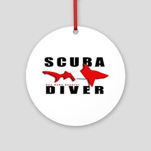 Scuba Diver: SHARK Ornament (Round)