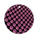 Pink Peace Symbol Ornament (Round)