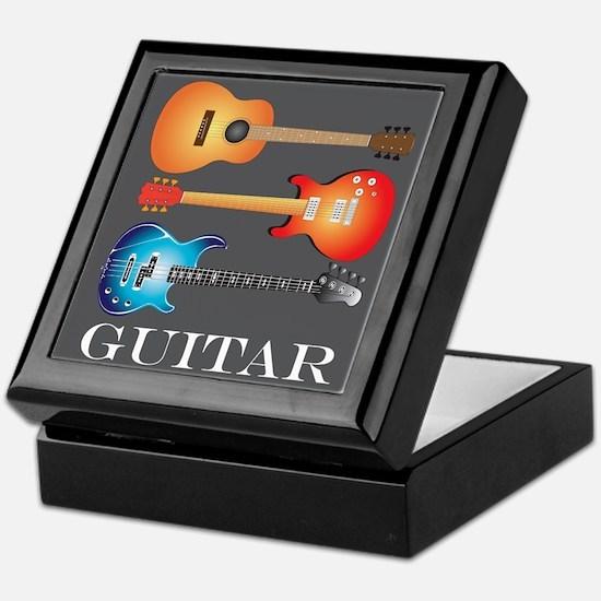 3 Guitars on Dark Gray Keepsake Box