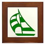 Green Sailboat Framed Tile