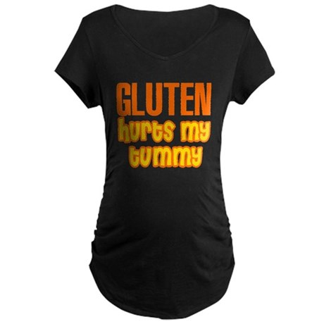 Gluten Hurts My Tummy Maternity Dark T-Shirt