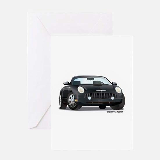 2002 05 Ford Thunderbird Blk Greeting Card