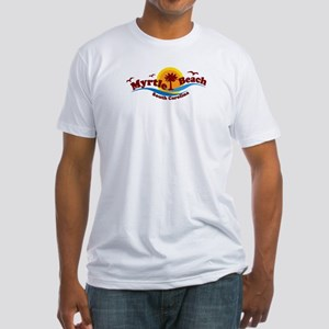 Myrtle Beach SC - Waves Design Fitted T-Shirt