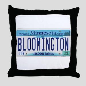Bloomington License Plate Throw Pillow