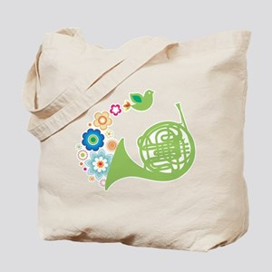 Retro Flower French Horn Tote Bag