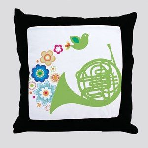 Retro Flower French Horn Throw Pillow