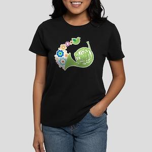Retro Flower French Horn Women's Dark T-Shirt