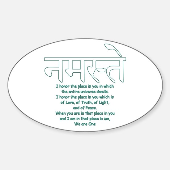namaste we are one Oval Decal